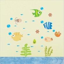 1PCS Cartoon DIY Cute Tropical Fish Ocean World Wall Sticker Decor for Bathroom Toilet Baby Room Decoration 44*25cm