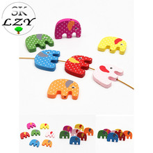 20PCS Colorful Wooden Beads Cute Elephant Shape Cartoon White Dot DIY Interval Loose Jewelry Making Accessories 25X18mm