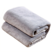 Practical 100 150cm Sofa Air Bedding Throw Solid Color And Double Faced Travel Flannel Blanket Grey