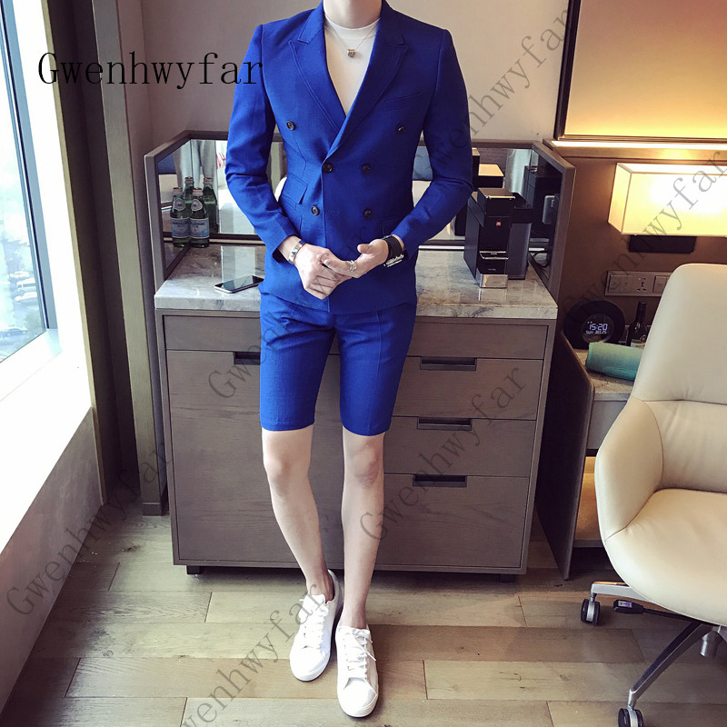Summer-khaki-Men-Suit-With-Short-Pants-2018-Double-Breasted-Slim-Fit-blue-Male-Blazer-Party