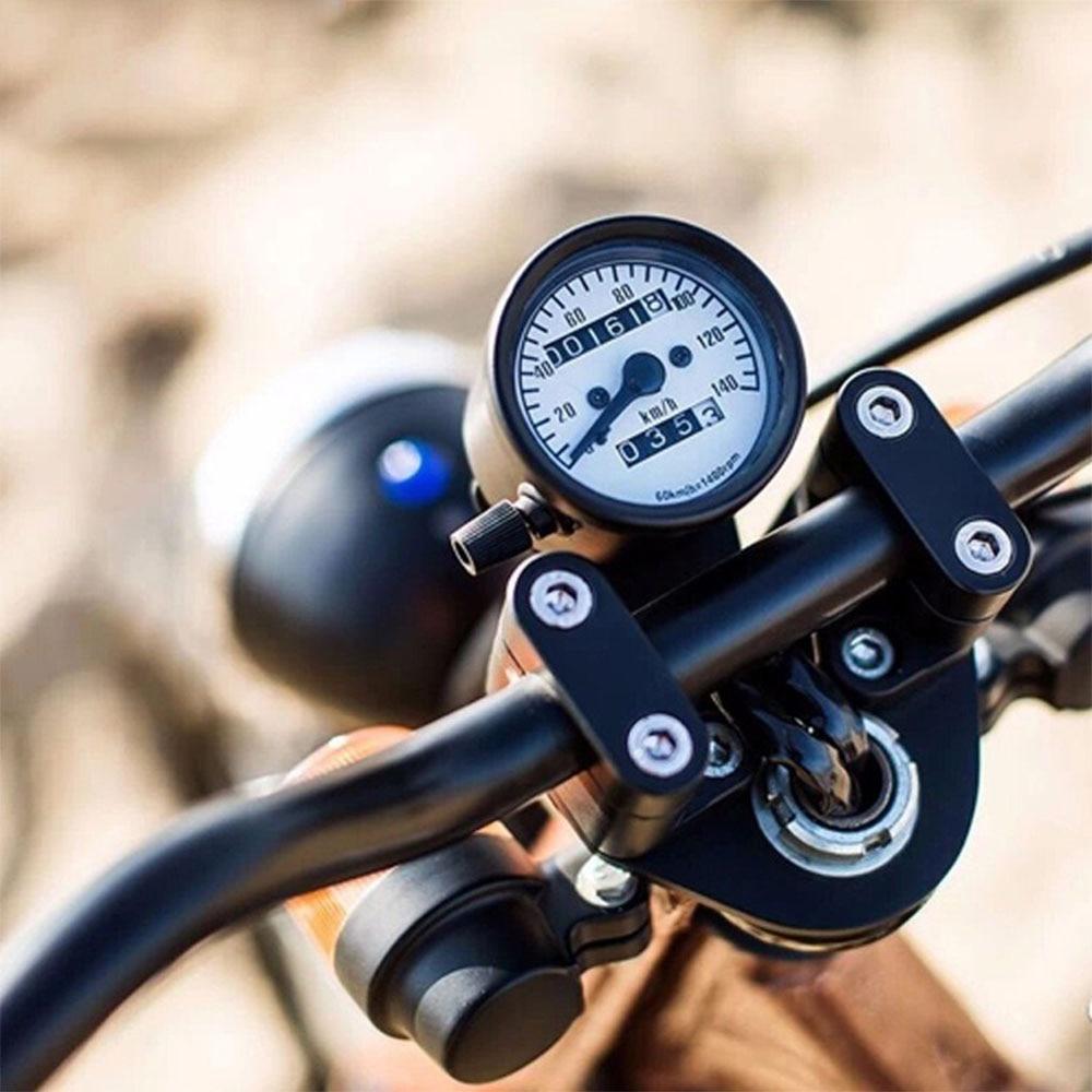אוניברסלי אופנוע מד מרחק 140 KM/H מד מהירות מד קפה רייסר רטרו מכשיר כפול-קילומטראז רטרו-קילומטראז רטרו-שהותאם