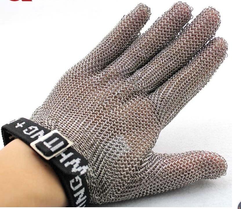 Безопасные устойчивые к порезам защитные рабочие перчатки 100% из нержавеющей стали ANSI анти Резные Металлические Сетки Мясник Перчатки - 3