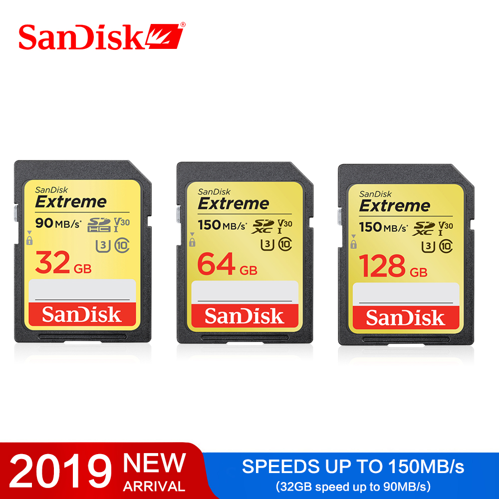 SanDisk Extreme Sd Card Class10 SD Card 32GB 90MB/s Fastest Memory Card For Canon 64GB SDHC/SDXC 128GB Memory Cards For Camera