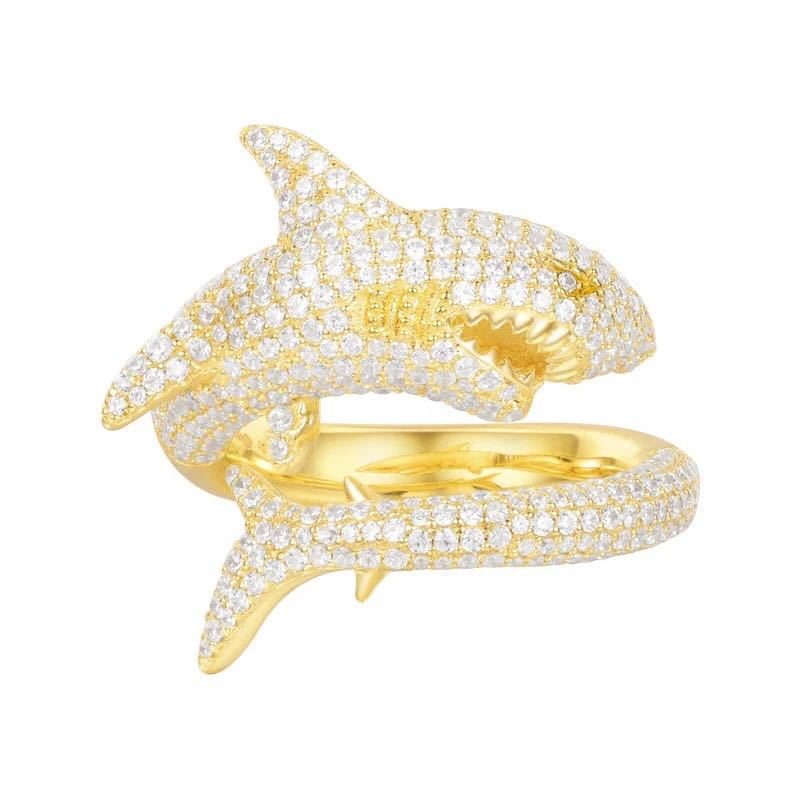SLJELY 925 Sterling Silver Rings Full Micro Cubic Zirconia Gold Color Shark Finger Ring Monaco Egypt