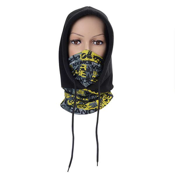 With scarf fleece cap male and female outdoor riding mask hat warm cold hat CS head cover collar black and yellow
