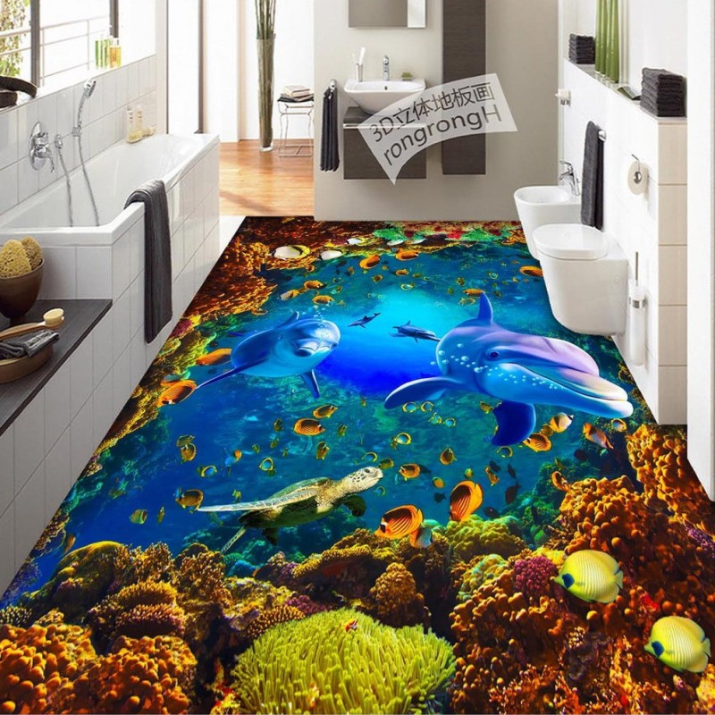 ФОТО Free Shipping Underwater World Dolphin Coral 3D floor painting wear non-slip waterproof bedroom square bathroom flooring mural