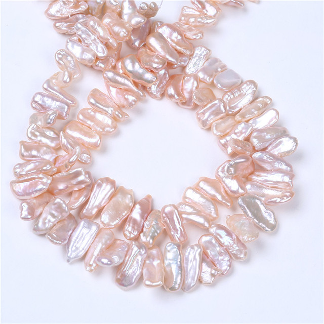 DIY AA Wholesale Pink Color Freshwater Biwa Pearl 10*18mm Loose Beads 16'' For Jewelry Making