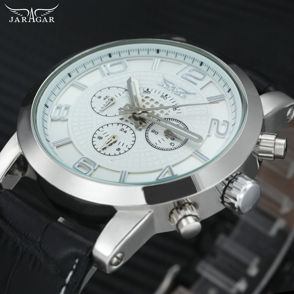 лучшая цена JARAGAR Classic Auto Mechanical Mens Watches Top Brand Luxury Leather Strap 3 Sub-dials 6 Hands Fashion Concise Wrist Watch Men