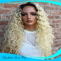 Glueless Synthetic Lace Front Wig Ombre Blonde Wig Dark Root Long Kinky curly Wig Heat Resistant Cheap Female Lace Front Wig