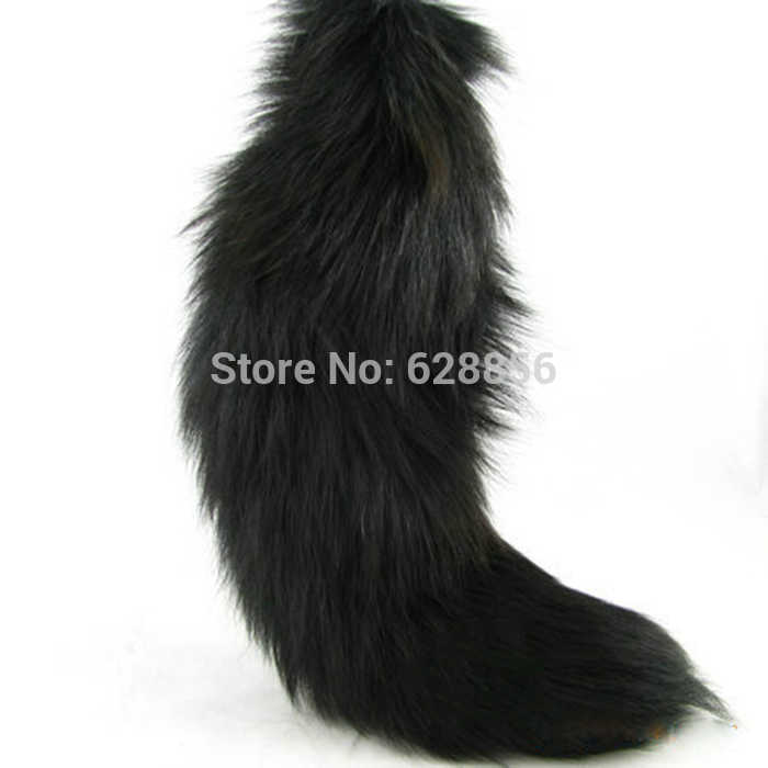 Super Grande Preto Real Fox Fur Cauda Keychain do Anel chave