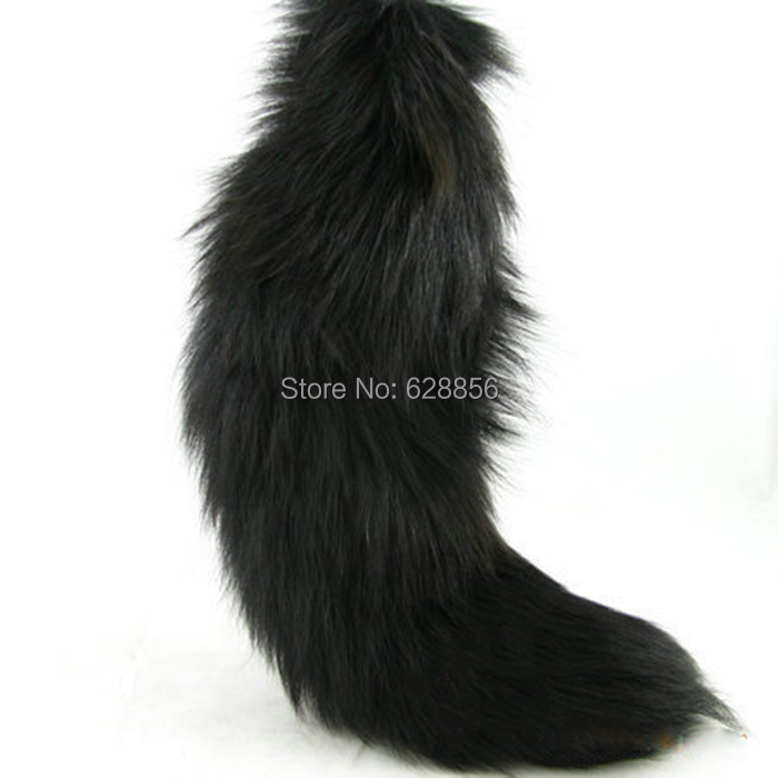 Super  Large Real Black Fox Fur Tail Keychain Key Ring