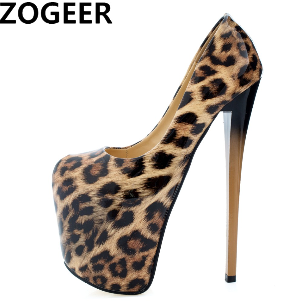 Plus Size 47 Fashion Women Pumps 19cm Super High Heels Platform Patent Leather Leopard Stiletto Lady