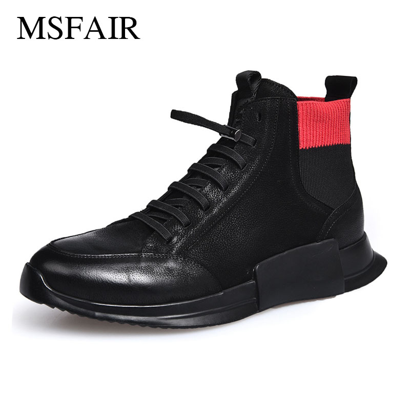 Msfair Men Running Shoes Genuine Leather Sport Shoes For Men To keep warm High quality fabric Men Sneakers