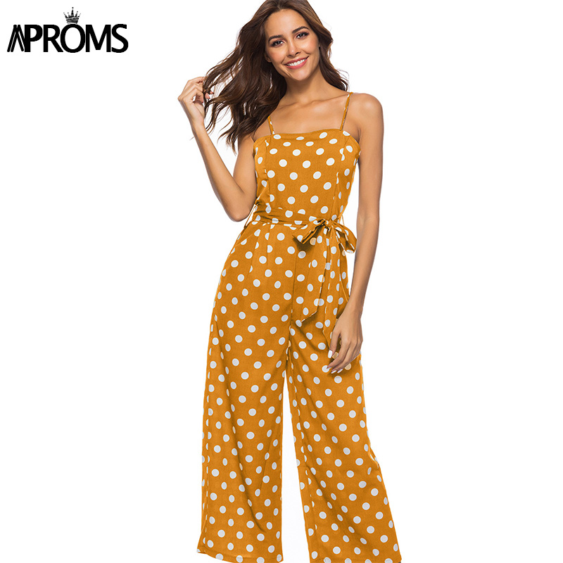 Aproms Chic Dot Printed Summer Strap   Jumpsuit   Women Elegant Sashes Bow Tie Loose Wide Leg Rompers Yellow Cropped Overalls 2019