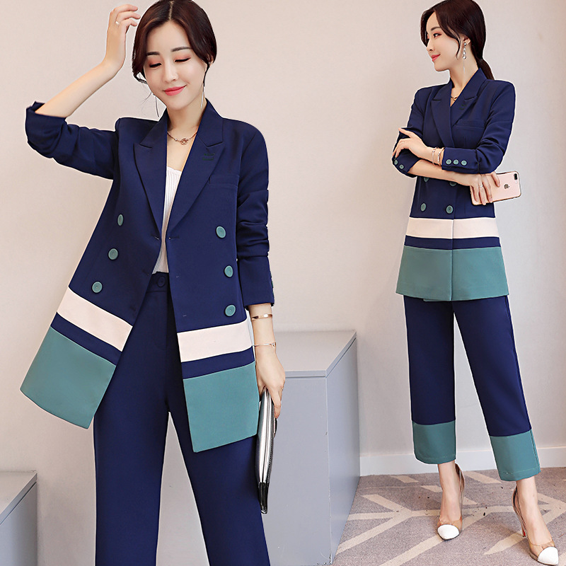 Back To Search Resultswomen's Clothing Two Piece Set Office Suit Women Autumn Double Breasted Dark Blue Long Jacket+long Pant Suits Businness Work Wear Suits