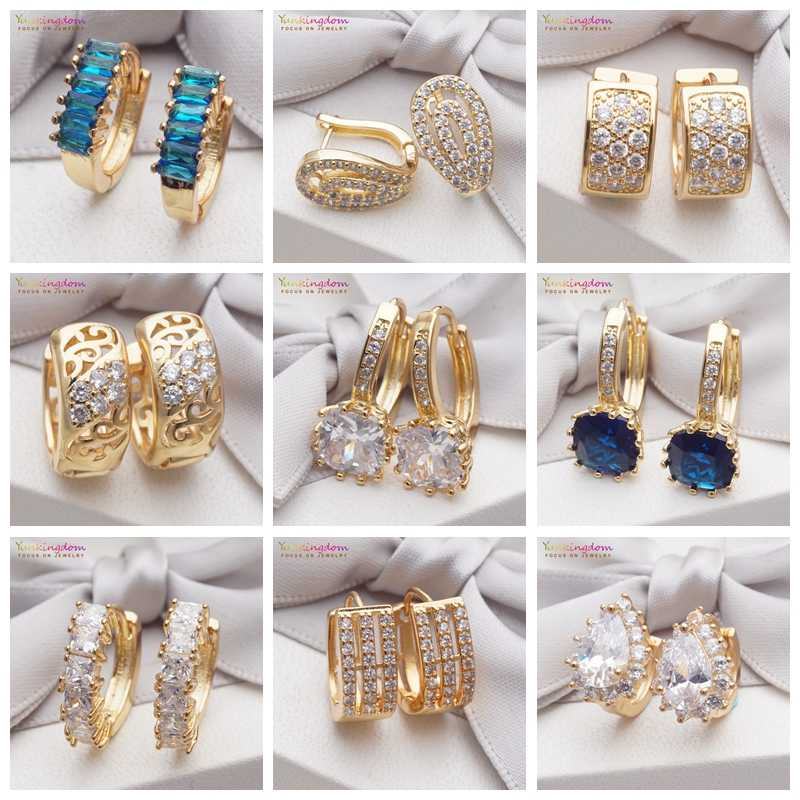 Yunkingdom 14 Different Styles New 2019 Trendy Jewelry Gold Earring Round Cubic Zirconia Crystal Hoop Earrings for Women