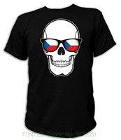 Print T Shirt Men T Shirt Skull Flag Glasses Czech Republic Tschechien Totenkopf Fu Ball Fan