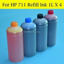 4 Color/Lot Dye Ink Refill Kit For HP 711 Cartrige Designjet T120 T520 Printer CISS
