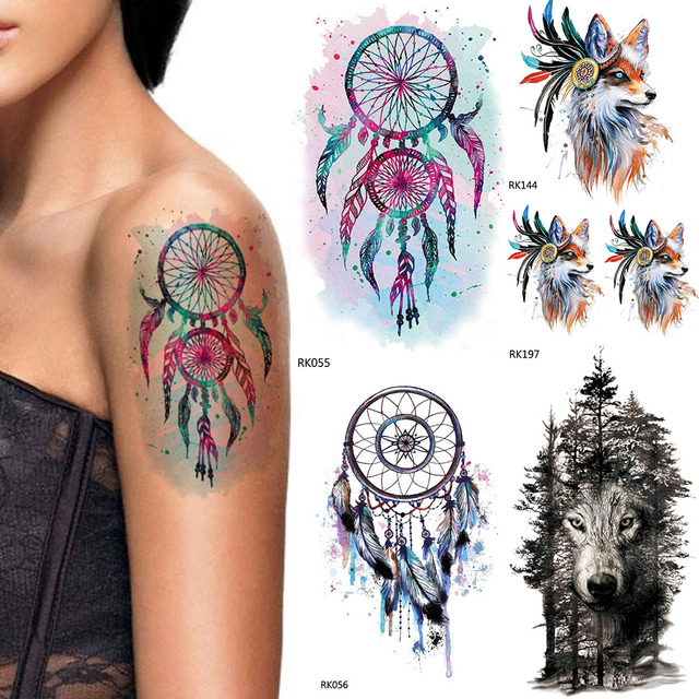 Us 0 41 10 Off Iorikyo Flash Watercolor Dream Catcher Tattoo Women Arm Stickers Temporary Tattoo Men Jungle Wolf Waterproof Tatoo Windbell Fox In