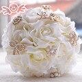 Высокое Качество Ручной Работы Искусственного Шелка Розы Кристалл Свадебный букет цветы Невесты Невесты Свадебный Букет