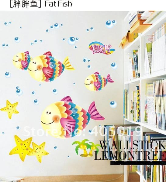 Ld631 Fat Fish Wall Sticker Transpa Removable Child Room Decor Nursery Daycare Pvc Cling Mixable 6