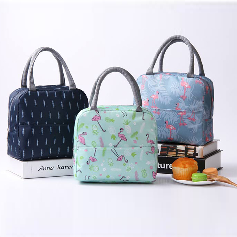 Flamingo Insulated Oxford Aluminum Foil Portable Lunchbag Woman Men Travel Picnic Lunch Box With Pocket Thermal Lunch Bag 388