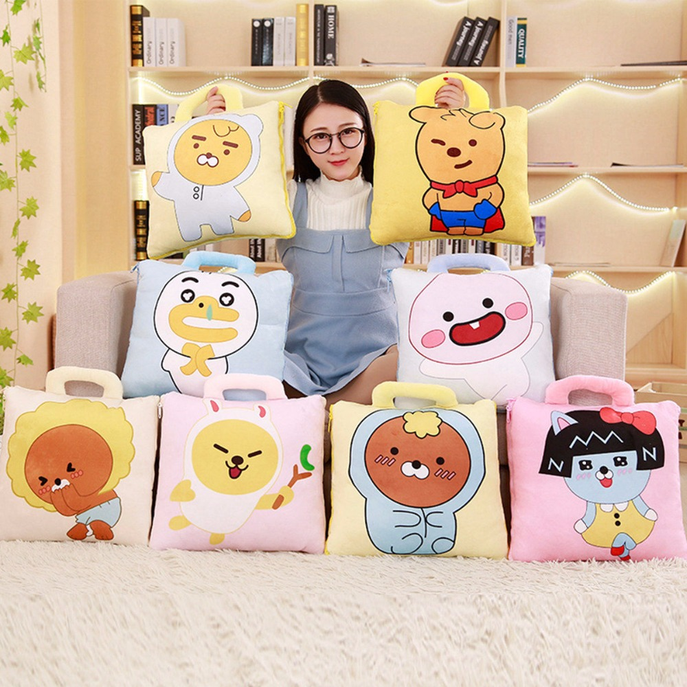 1pc 38cm*38cm Kawaii Kakao Friends Plush Pillow Air Conditioning Blanket 2 in one Ryan Neo Pillow Cushion Kids Girls Gifts ...