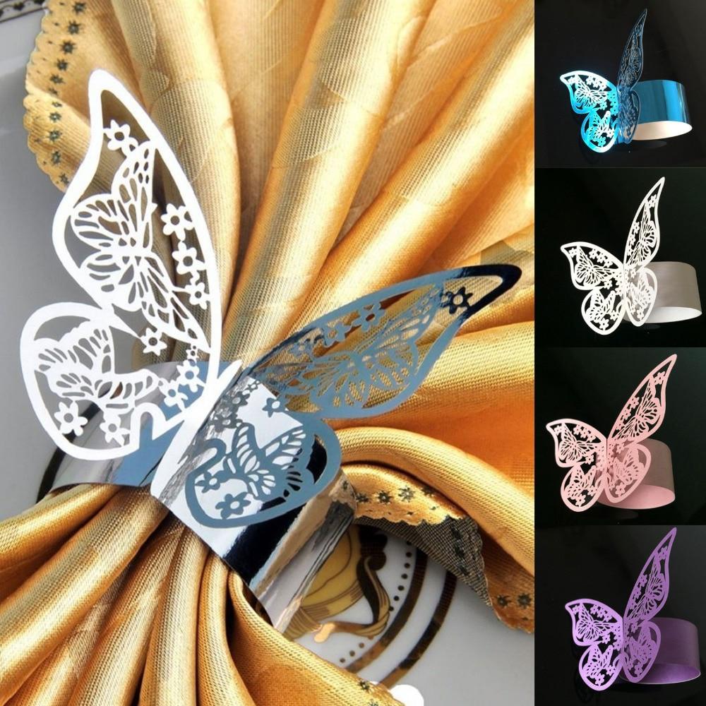 50 pz all'ingrosso 6x21 cm Matrimoni Partito Serviette Bella Pearlescent Farfalla di Carta Anelli di Tovagliolo Decorazione Della Tavola Favore