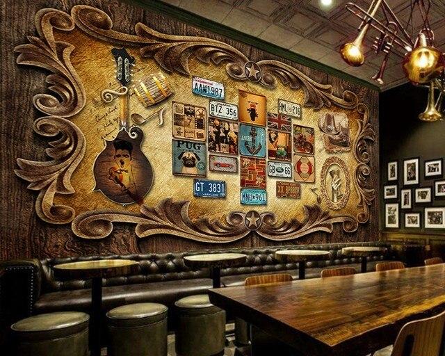 Free Shipping European Vintage Retro Bar Ktv Background Wall Design ...