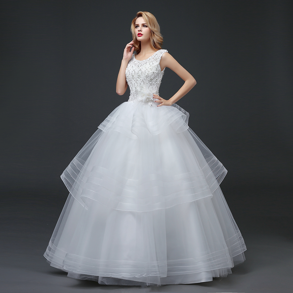 CEEWHY Lace Tulle Embroidery Beading Wedding Dresses Ruffles Ball ...