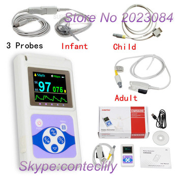 SPO2,PR infant child adult probes Hand-Held Pulse Oximeter PC analysis software Free shipping