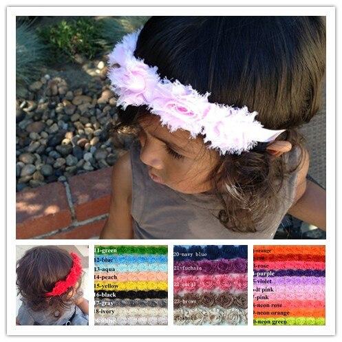 c46540dddd3 24Pcs Six Shabby Flowers Baby girls Hairbands 3D Chiffon Flower Infantil  Newborn Elastic headbands Children Hair accessories-in Hair Accessories  from Mother ...