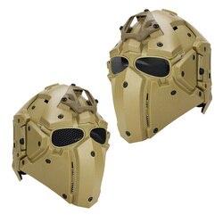Casco táctico todo-redondo integrado NVG Paintball máscara w/lentes y malla Goggle profesional ciclismo casco de caza de cara completa