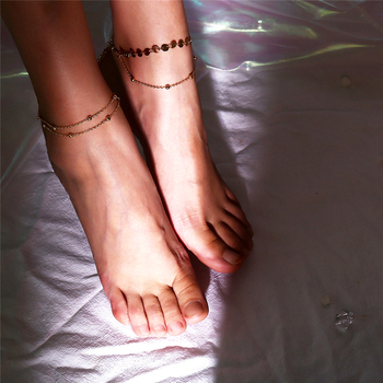 Ingemark 2018 New Multilayer Chain Anklet Bracelets for Women Copper Sequins Leg Ankle Barefoot Sandals Summer Foot Jewelry 3