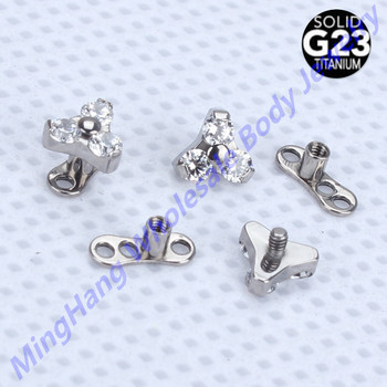 10pcs G23 Titanium 3 Crystal Petals Flower Piercing Micro dermal Anchor Body Jewelry