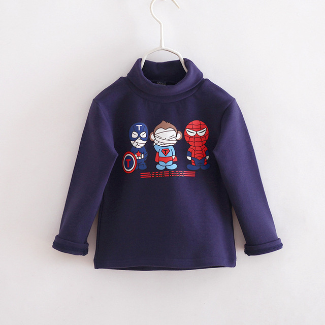 2016 otoño invierno Marca Niños Sudaderas muchachas de los bebés de algodón hoodies camiseta de los niños ropa de Cuello Alto de Cachemira 2-7 años
