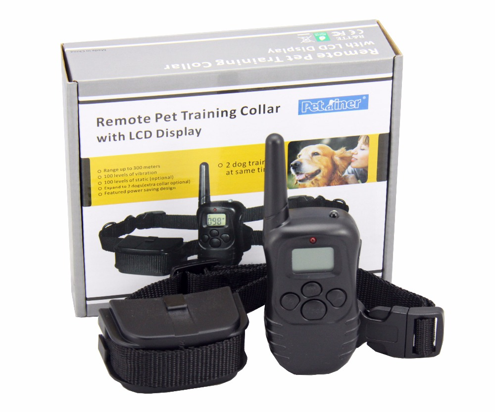 Petrainer  PET988D Remote LCD 100LV 300M l Electric Shock Vibration Remote Anti Bark Pet Dog Training Collar dog care training collar