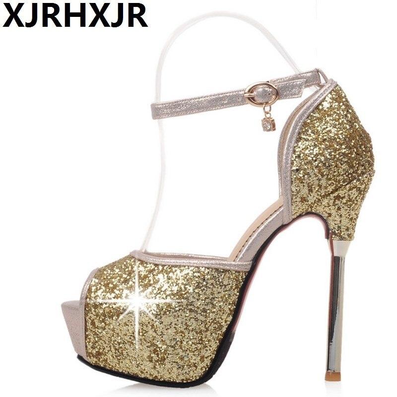 где купить XJRHXJR Summer Open Toe High Heels Women Shoes Sexy Glitter Thin Heels Party Wedding Pumps Gladiator Club Shoes Gold White 33-42 по лучшей цене