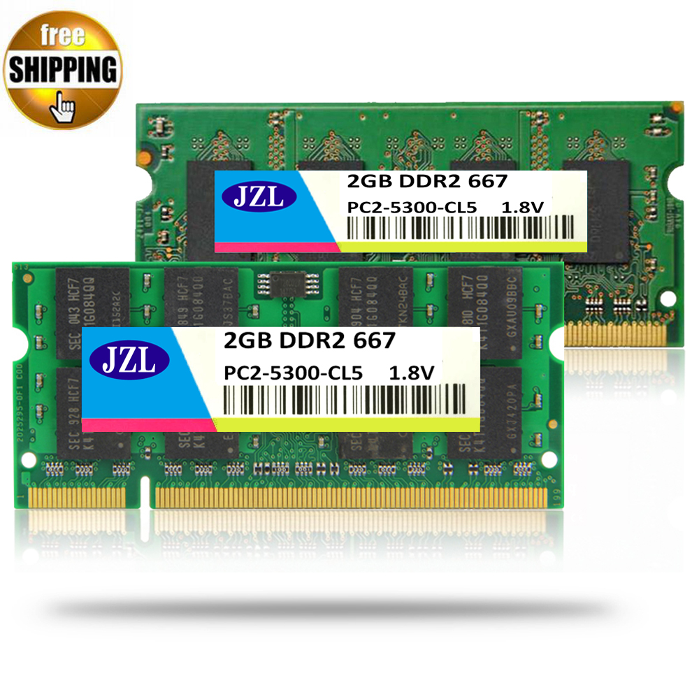 JZL Laptop Memory Ram SODIMM PC2-5300 DDR2 667MHz 200PIN 2GB / PC2 5300 DDR 2 667 MHz 200 PIN 1.8V CL5 Notebook Computer SDRAM