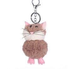 2326385762 Carino Faux Della Pelliccia Del Mouse Portachiavi Artificiale Palla di Pelo di  Coniglio Birichino Anello Chiave