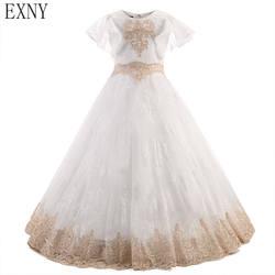 EXNY Романтический шампанское Платье с кружевными цветами для девочек для свадьбы оборками рукавами из тюля для девочек вечерние платье для