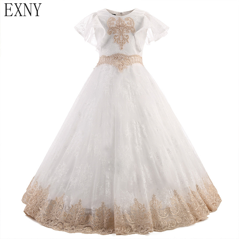 EXNY Romantic Champagne Lace   Flower     Girl     Dress   for Weddings Ruffles Sleeve Tulle   Girl   Party Communion   Dress   Pageant Gown
