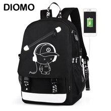DIOMO 新到着 USB 充電旅行の若者たちの防水少年のバックパック Bookbags 抗盗難 Bagpack