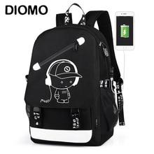 DIOMO nouveauté USB charge sacs décole sacs à dos de voyage pour les adolescents imperméable à leau sac à dos de garçon sacs à dos Anti vol sac à dos