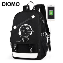 Водонепроницаемый рюкзак DIOMO для мальчиков, школьный дорожный ранец с USB зарядкой и защитой от кражи, портфель для книг