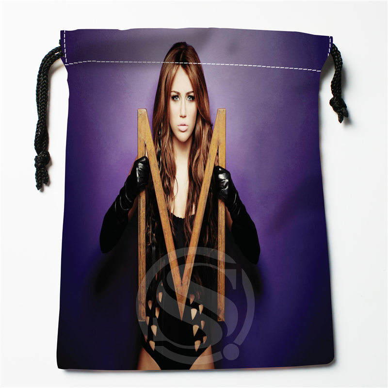 J&w100 New Miley Cyrus Custom Printed  Receive Bag Compression Type Drawstring Bags Size 18X22cm W725&100iDW