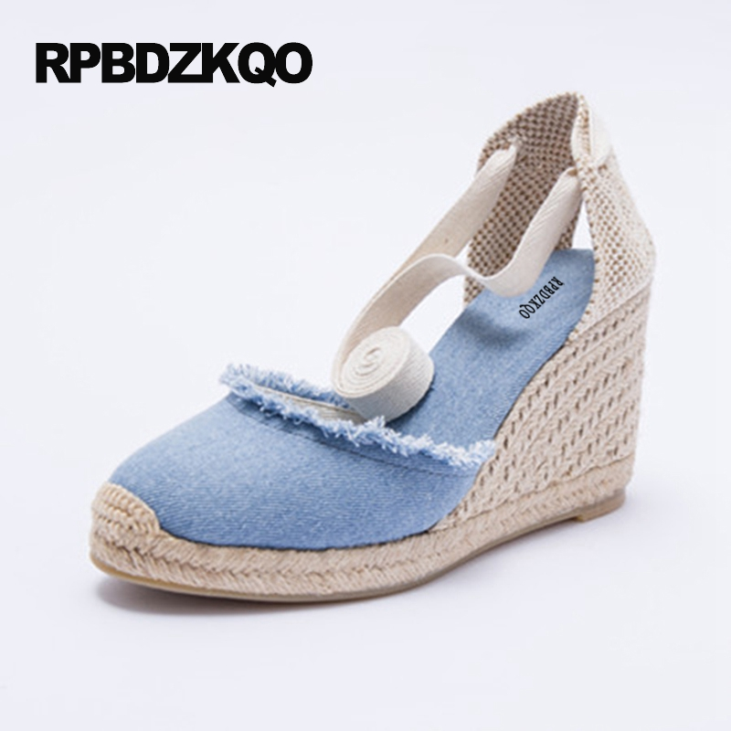 Lace Up Designer European High Heels Ankle Strap Beige Strappy Denim 3 Inch Round Toe Sandals Blue Slingback Pumps Canvas Wedge round up 1 2 3