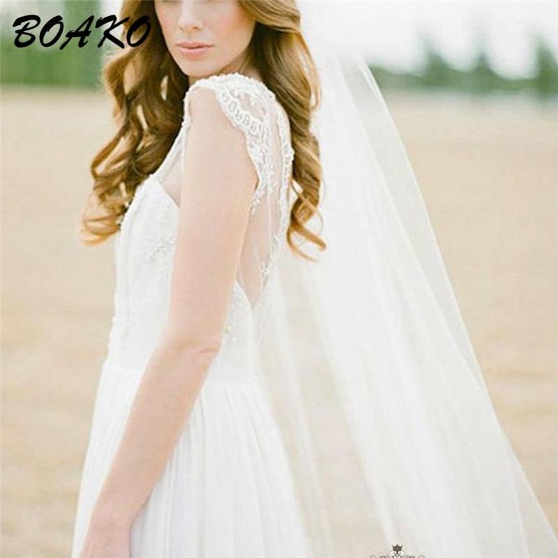 BOAKO 2M Elegant Wedding Veils With Comb One Layer Simple Tulle Bridal Veil White Ivory Velos De Novia Cheap Wedding Accessories