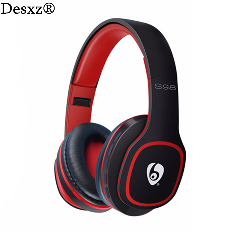 Desxz S98 Wireless Bluetooth Headphones Stereo FM Radio Hands-free Portable Noise Cancelling with Microphone TF Slot for Phone wireless bluetooth headset mini business headphones noise cancelling earphone hands free with microphone for iphone 7 6s samsung