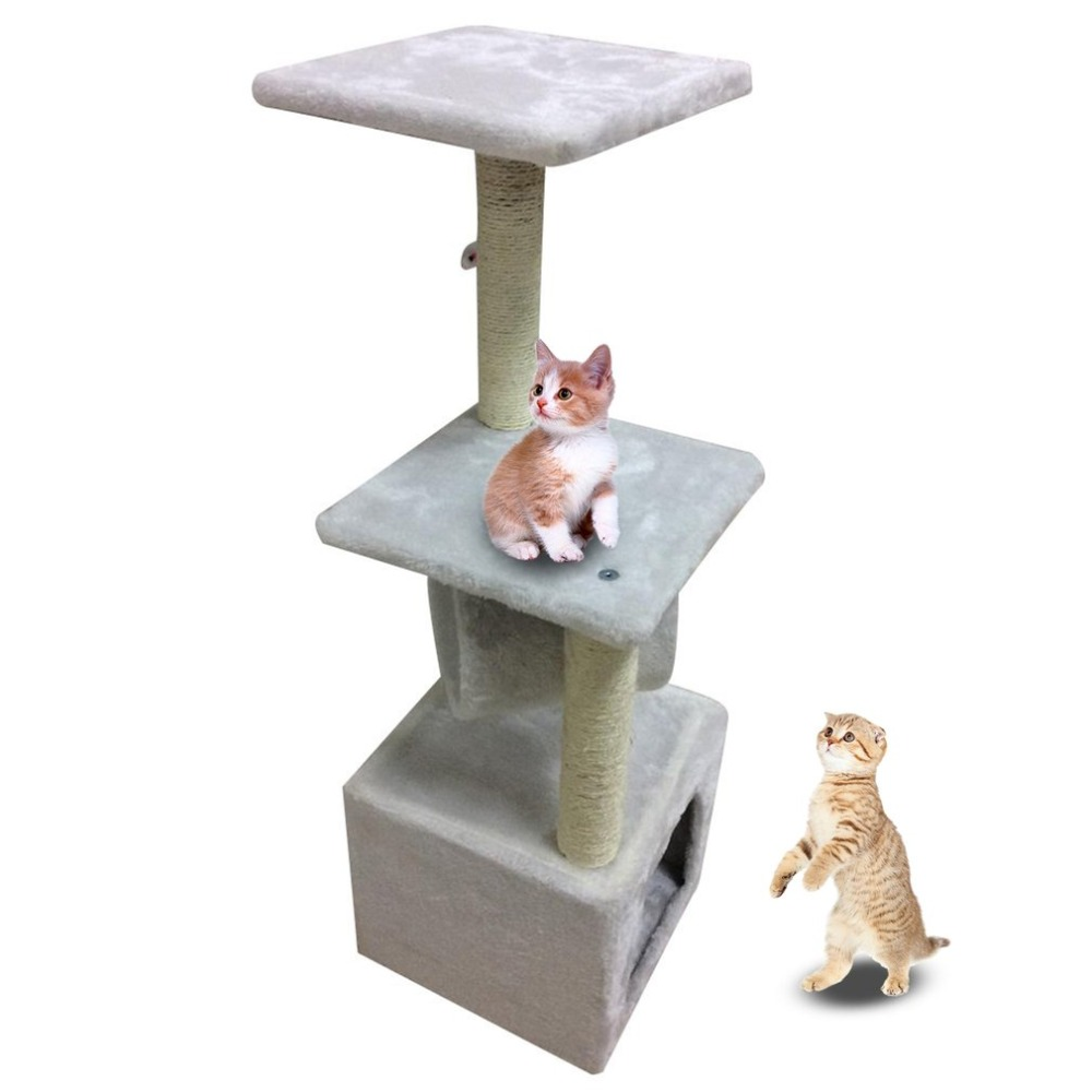 Cat Toy House Bed Hanging Mouse Cats Tree 90CM Pet Scratching Post Kitten Climbing Post Sisal Playing Toy Pet Climbing Frame